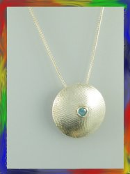 Domed and Textured Silver Pendant